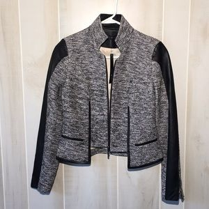Stella & Jamie Metallic Tweed And Leather Jacket S